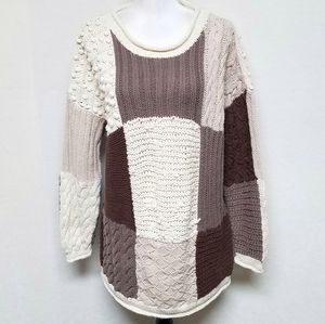 Vintage Casual Elements Patchwork Chunky Sweater